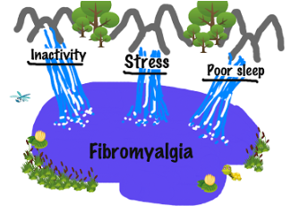 Immobility, Stress, and Poor sleep are 3 streams that feed into the fibromyalgia lake.